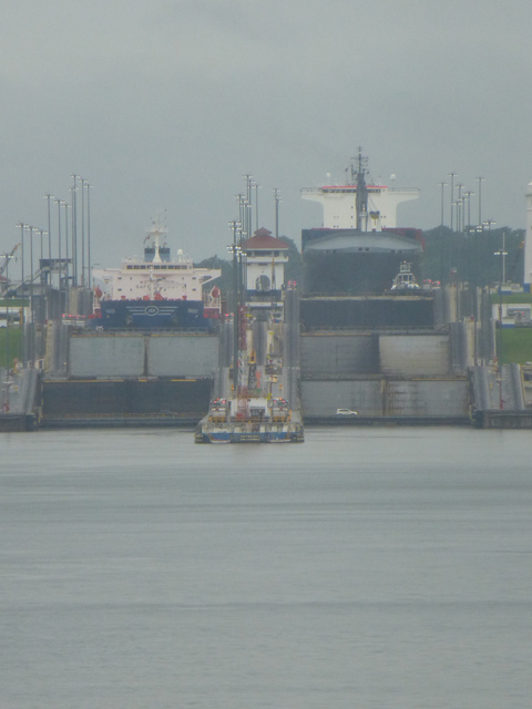 Gatun Locks - looking back from aft upwards