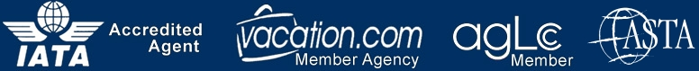 Proud member of IATA; ASTA; Vacation.com; and The AGLCC. A BBB Accredited Business.