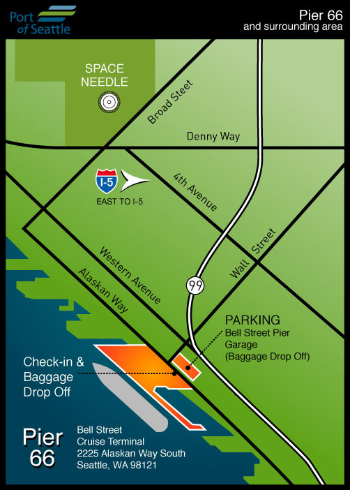 Pier 91 Seattle Cruise Port Map on Tracy Arm Tours