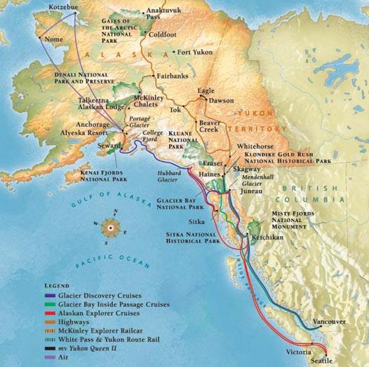 About Alaska Cruise Tours Alaska Cruises And Land Tours - Map of alaska cruise ship routes
